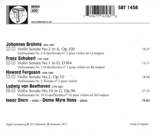 Brahms: Violin Sonata No. 2, Op. 100 / Schubert: Violin Sonata No. 1, d. 384 / Ferguson: Violin Sonata No. 2 / Beethoven: Violin Sonata No. 10, Op. 96 by Testament