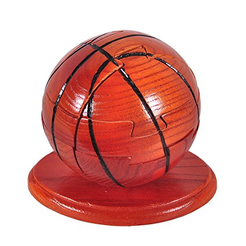PhantomSky 3D Wooden Jigsaw Brain Teaser Basketball Puzzle - Handcrafted Ball Game for Adults Kids Sport Fans - Idea for Gift and Decoration
