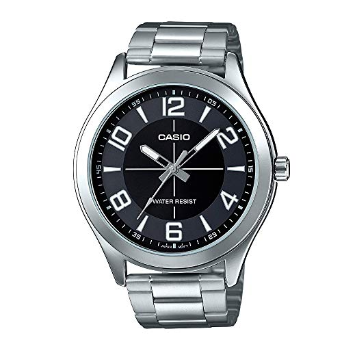 Casio MTP-VX01D-1B Men's Standard Stainless Steel Big Case Black Dial Watch