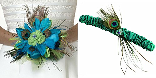 Bundle of 2 Lillian Rose Wedding Accessories - Peacock Bouquet and Garter
