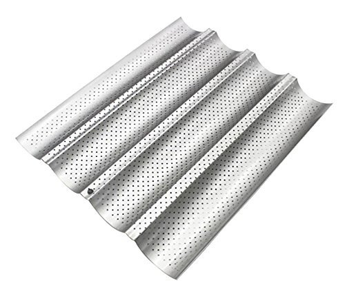 (Four Groove French Bread Pan, KOOTIPS Non-stick Perforated Baguette Pan French Italian Bread Pan Wave Loaf Bake Mold Board Subway Mold Tins Basket Tray Cloche Molds Pans Sheet Baker Baking (Silver))