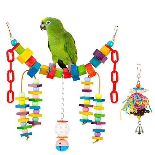 MEWTOGO 2 PCS Bird Swing with Small Bird Chewing Toy -Parrot Hanging Bridge with Small Shredder Ball Stuffers Toy by MEWTOGO