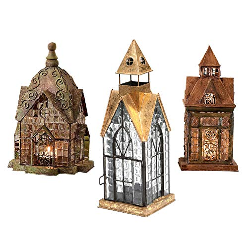 SIGNALS Set of 3 Glass and Metal Candle Lanterns - Classic European Architectural Houses (Large Lantern Metal)