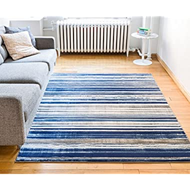 Riviera Stripe Blue & Beige Vintage Modern Geometric Abstract Shabby Chic Area Rug 8 x 10 ( 7'10  x 9'10  ) Neutral Thick Soft Plush Shed Free