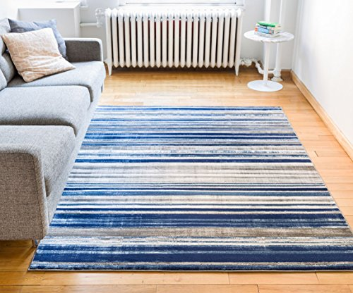 Well Woven Riviera Stripe Blue & Beige Vintage Modern Geometric Abstract Shabby Chic Area Rug 8 x 10 (7'10