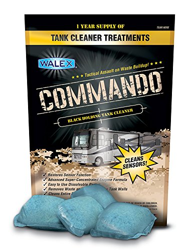 Walex CMDOBG Commando Black Holding Tank Cleaner Drop-Ins, Ocean Mist Scent (1 Year - Rv Cleaning Tank Holding