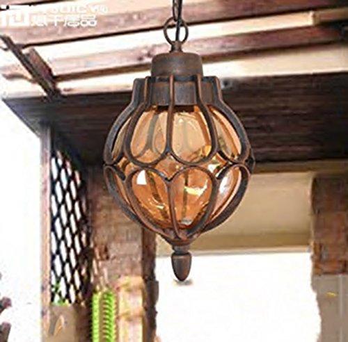 Injuicy Vintage Industrial E27 Edison Glass Pendant Lights Lamps Shades Waterproof Outdoor Courtyard Garden Aluminum Ceiling Lights Fixtures Balcony Aisle Corridor Hydrangea (Brown & Dia. 11 Inch)