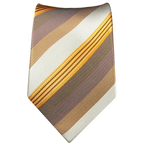Cravate homme blanc or rayée 100% cravate en soie ( longueur 165cm )