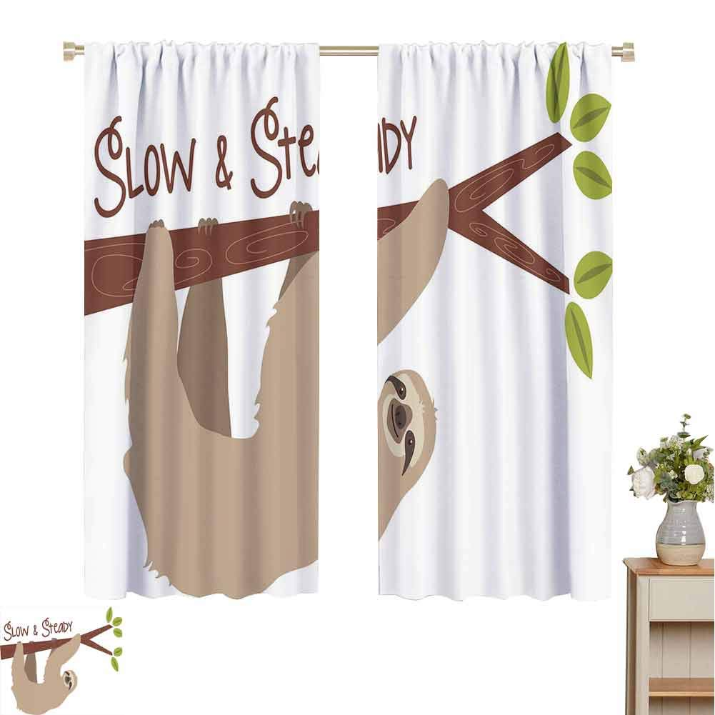 Sloth Dark Out Double Layer Curtains for Kids Bedroom, Cartoon Style Australian Wildlife Mammal on Tree Branch Slow and Steady Phrase Dark Out Waverly Curtain (Tan Chesnut Brown, 55 x 72 Inch ) by June Gissing
