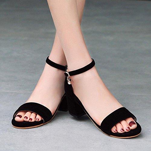 TAOFFEN Mujer Zapatos Western Tacon Medio Punta Abierta Sandalias De Al Tobillo Negro