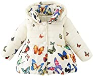 Weixinbuy Infant Toddler Girls Winter Warm Butterfly Print Hooded Snow Outwear
