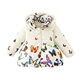 Jlong Baby Girls Boy Winter Warm Printed Butterfly Long Sleeves Coat Jacket Size Tag, 2-3 Years Size Tag 10 (Large)