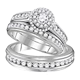 Silvernshine Jewels 1.58 ct Round Cut Diamond 14k White Gold Fn Wedding Ring Trio Set For Him & Her