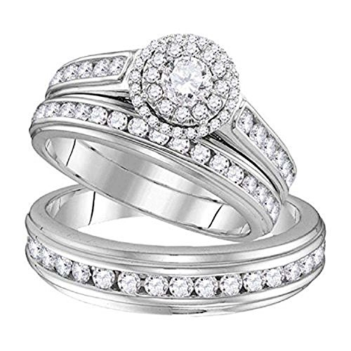 2heart 1.58 ct Round Cut Sim.Diamond 14k White Gold Fn Wedding Ring Trio Set For Him & Her (Wedding Her Rings For Trio)