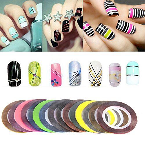 30pcs Rolls Striping Tapes Colorful Line Nail Stickers DIY Nail Art Kit Manicaure Beauty decorations for UV Gel Nail Polish