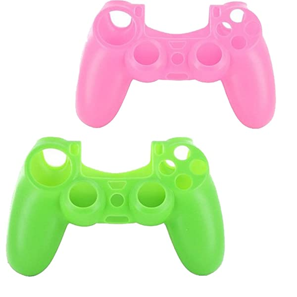 lilyy® 2 Pack Silicone Case Skin Protector Cover For Playstation 4 PS4 Wireless Game Controller(Pink,Green) (Color: PI&GR)