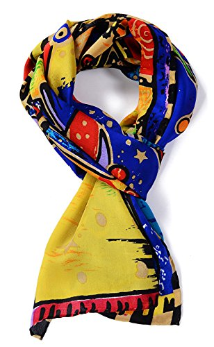 Salutto Women 100% Silk Scarf Van Gogh Monet Famous Painter Painted Scarves 47