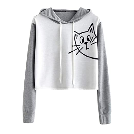c27b94a4ee06aa Womens Girls Cute Cat Print Long Sleeve Hoodie Crop Top Casual Sweatshirt  Blouse Pullover at Amazon Women s Clothing store