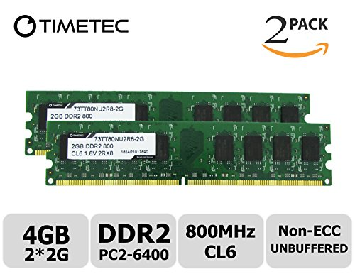 Timetec Hynix IC 4GB Kit(2x2GB) DDR2 800MHz PC2 - 6400 Non Ecc Unbuffered 1.8V CL6 2Rx8 Dual Rank 240 Pin UDIMM Desktop PC Computer Memory Ram Module Upgrade (4GB Kit (2x2GB))
