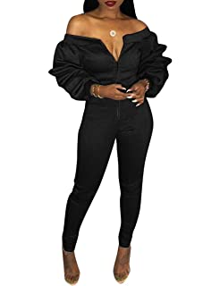 f99849964833 Augsuttc Women Off Shoulder Long Sleeve Front Zipper Bodycon Jumpsuit Long  Pants Rompers