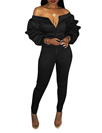 c6bdca16cad Amazon.com  Augsuttc Women Off Shoulder Long Sleeve Front Zipper Bodycon  Jumpsuit Long Pants Rompers  Clothing