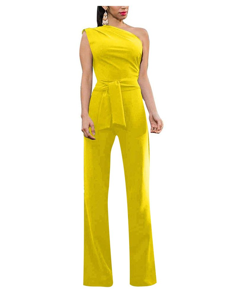 Dreamparis Women's Sexy One Shoulder Wide Leg Jumpsuits Bodycon Rompers High Waist Long Slim Fit Pants with Belt XX-Large Yellow