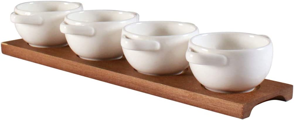 Set of 4 Bowls With Handles on Timber Tray by CIROA | 4 White Porcelain Bowls on Board for Dips, Condiments, Snacks, Nuts and Olives