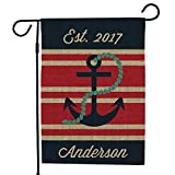 Cheap GiftsForYouNow Personalized Nautical Burlap Single Sided Garden Flag, 18″ x 12.5″, All Weather