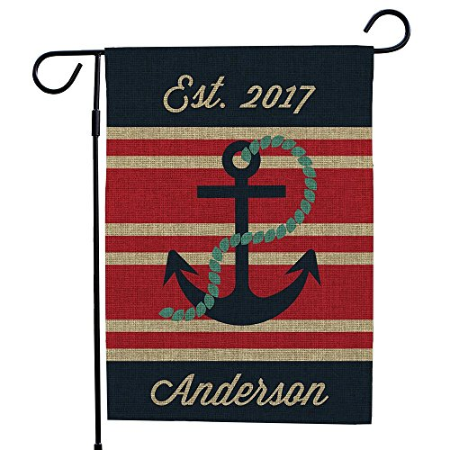 GiftsForYouNow Personalized Nautical Burlap Single Sided Garden Flag, 18