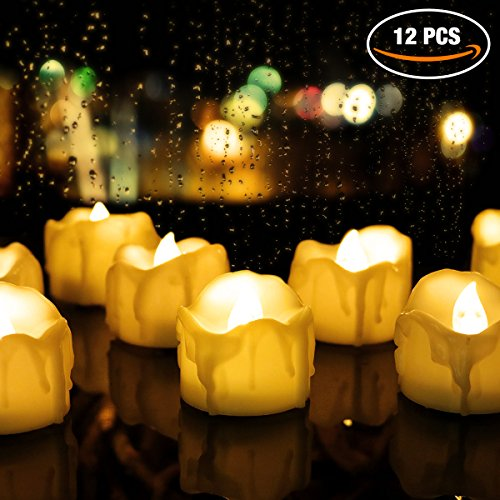 Tea Lights. Flameless LED Tea Light Candles (12 Pack), Flickering Warm Yellow. Battery-powered Tealight Candles. Ideal for Party, Wedding, Birthday, Festivals and Home Decoration Review