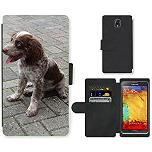 mobile phone case PU LEATHER case coque housse smartphone Flip bag Cover protection//M00110642 Perro Animal Pet Münsterländer Race//Samsung Galaxy Note 3 III N9000 N9002 N9005
