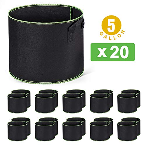 Delxo 20-Pack 5 Gallon Grow Bags Heavy Duty Aeration Fabric Pots Thickened Nonwoven Fabric Pots Plant Grow Bags with Handles (Best Plant Pots Price)