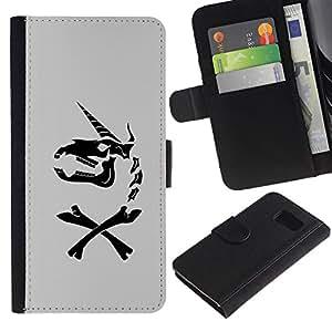 A-type (Unicornio gris Caballo divertido Negro) Colorida Impresión Funda Cuero Monedero Caja Bolsa Cubierta Caja Piel Card Slots Para Samsung Galaxy S6