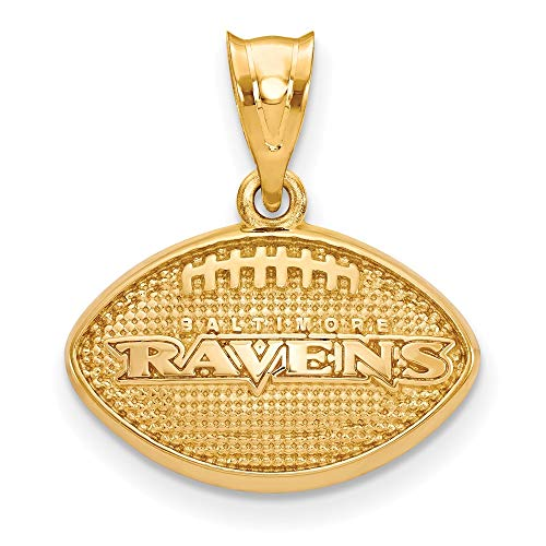 (NFL Sterling Silver Gold-plated LogoArt Baltimore Ravens Football Pendant)