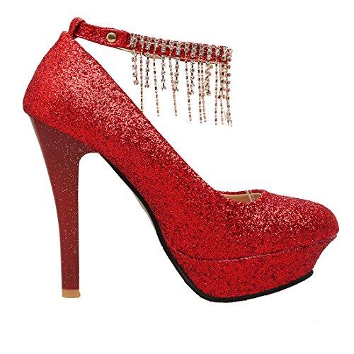 Aiyoumei Donne Chiuse Punta Rotonda Glitter Cinturino Alla Caviglia Stiletto Tacco Alto Pompe Piattaforma Con Rhinstone Rosso
