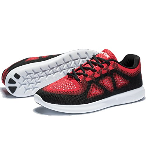 Black Red Breathable Men's Shoes Lightweight Shoes Slip Athletic Sneakers Running Outdoor 063 On nqPApvxw