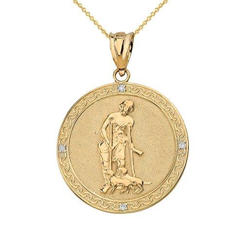 (14k Gold Saint Lazarus Pray For Us Medallion Diamond Pendant Necklace (1