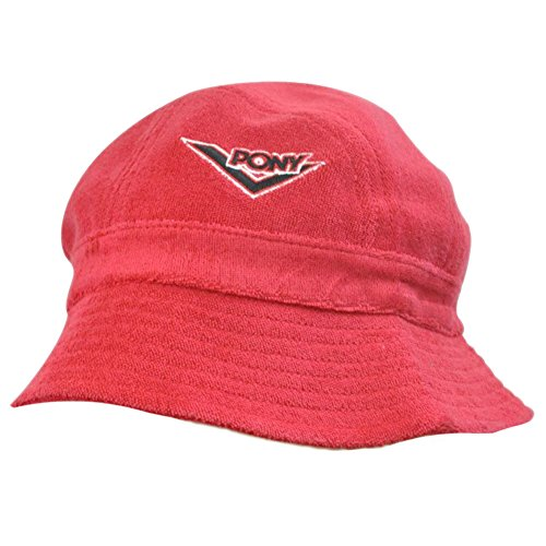 PONY WOMENS RED BUCKET BEACH HAT TERRYCLOTH SMALL MED