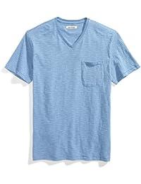 Men's Short-Sleeve V-Neck Striped Slub Pocket T-Shirt