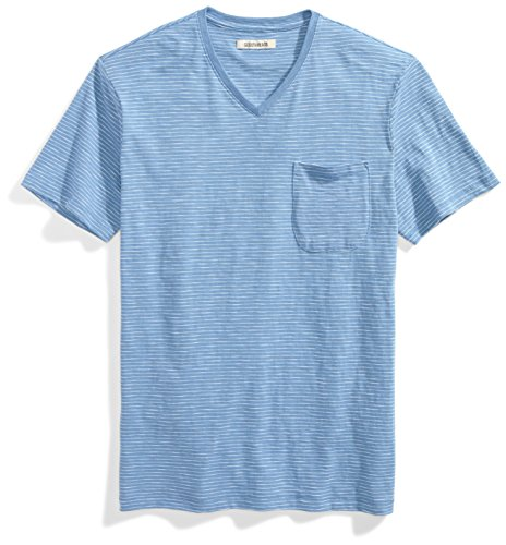Goodthreads Men's Lightweight Slub V-Neck Pocket T-Shirt, Moonlight Blue/White Stripe, Large