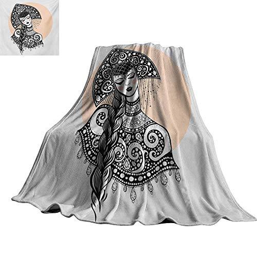 RenteriaDecor Russian,Soft Lightweight Blanket Ethnic Slavic Woman in Folk Clothes Ornamental Moscow Graphic Art All Season Blanket 70