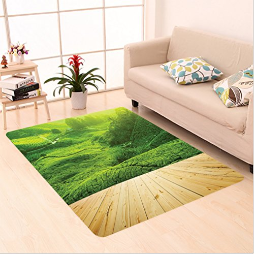 Nalahome Custom carpet n Highlands Tea Plantations from Wood Balcony Perspective Sunrise in Eary Morning with Fog Green area rugs for Living Dining Room Bedroom Hallway Office Carpet (2' X 3')