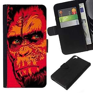 // PHONE CASE GIFT // Moda Estuche Funda de Cuero Billetera Tarjeta de crédito dinero bolsa Cubierta de proteccion Caso HTC Desire 820 / Red Monkey Gorilla /