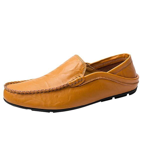 LILIHOT Herren Mokassin Bootsschuhe Leder Loafers Schuhe Flache Fahren Halbschuhe Slippers Herren Schnürhalbschuhe Männer Müßiggänger Sommer