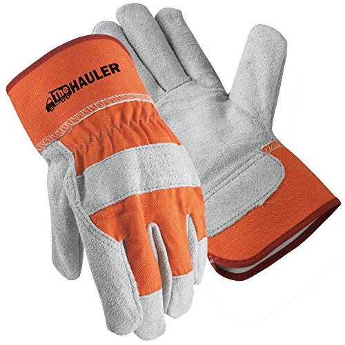 Palm Leather Cuff Gloves (Galeton 2117-XL The Hauler Leather Palm Gloves, Safety Cuff, X-Large, Orange (Pack of 12))