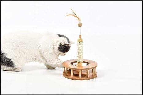HLMF Sisal de Madera Tipo Gato Divertido Juguete Gato rasguño Tablero Garra Mascota Juguete