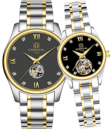 CARNIVAL His or Hers Automatic Mechanical Couple Watch Men and Women Gift Set of 2 by Carnival