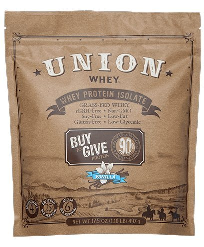 UNION WHEY Grass-Fed Whey Protein Isolate, 1.1lb Bag (Vanilla) - 14 Servings - No Fillers, No Preservatives, non-GMO, Soy-Free