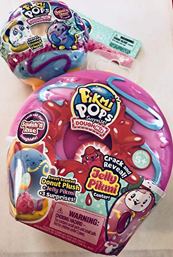 Pikmi Pops Surprise! Dough Mi's Medium Crack and Reveal Donut Plush + Jelly Pikmi Center and Small Donut Plush (Set of 2) Colors and Styles Vary ()