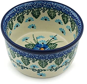 Polish Pottery Small Bowl 4-inch made by Ceramika Artystyczna (Forget Me Not)